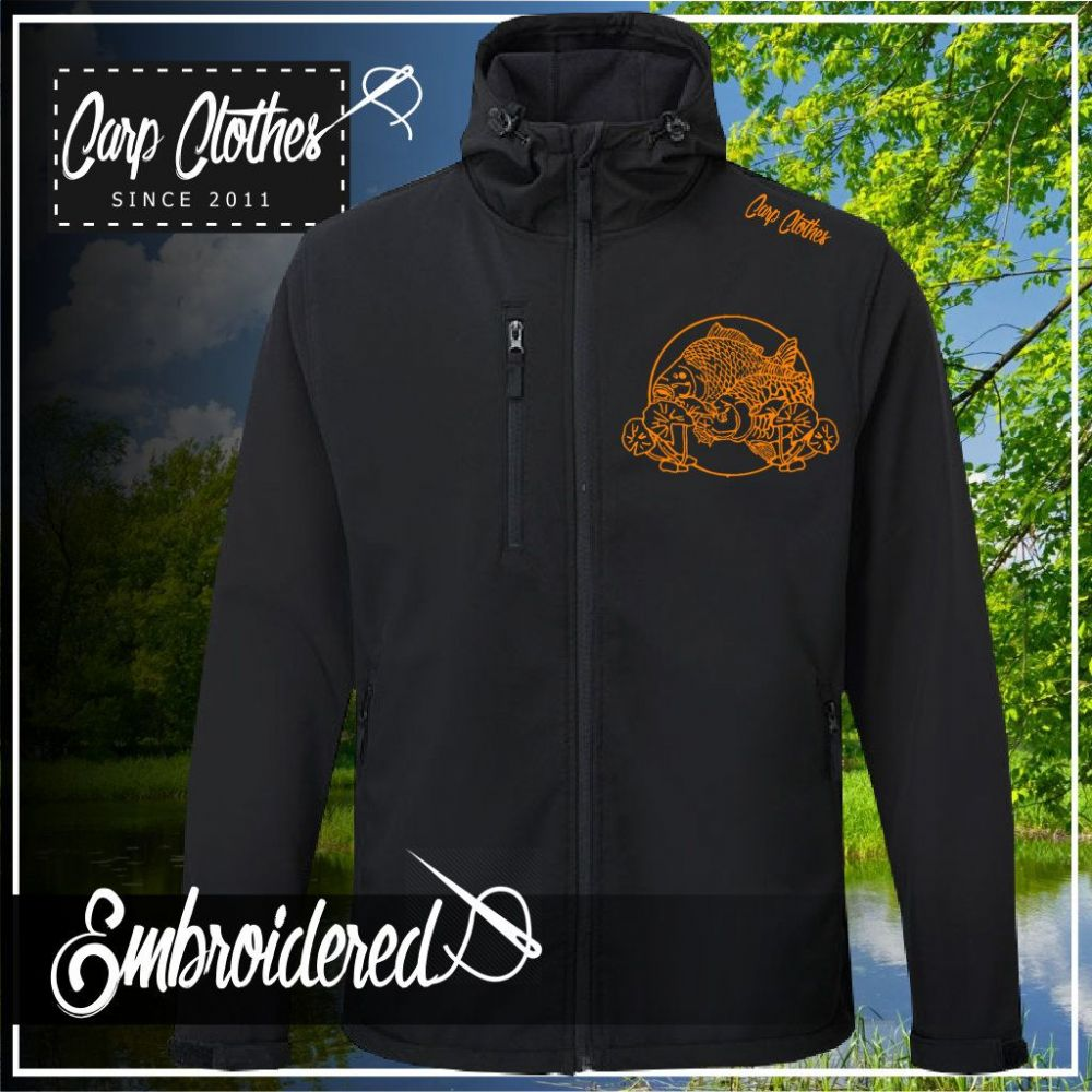 035 EMBROIDERED HOODED SOFTSHELL JACKET